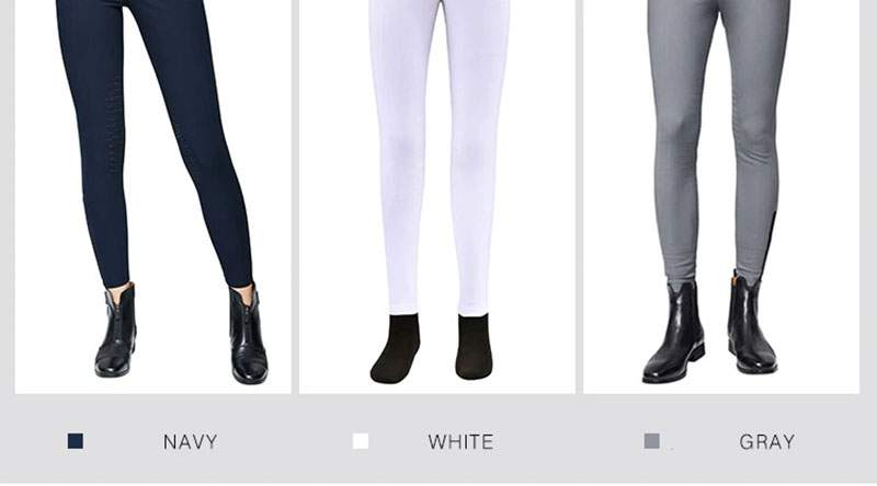 Equestrian Breeches for Men and Women, Half Leather Silicone Horse Riding Pants, High Elasticity, Breathable Fabric