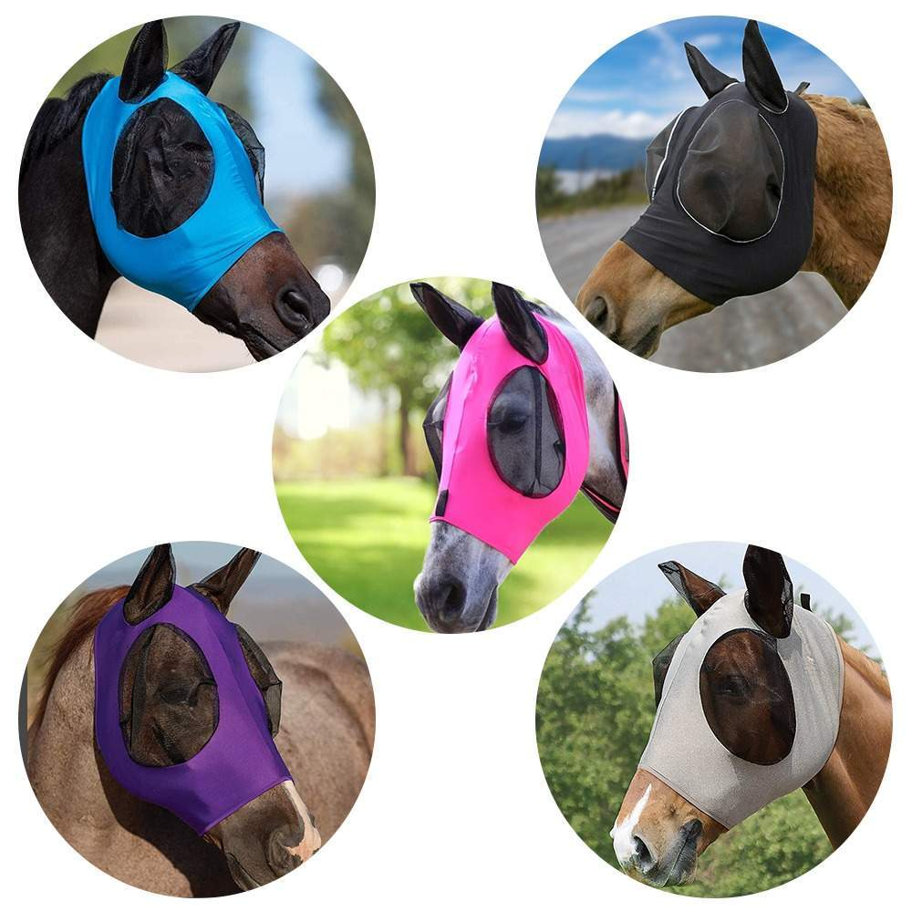 Horse Fly Mask Breathable Anti Mosquito Fly Elastic Protection Decor Face Shield, Horse Fly Mask With Ears Cover