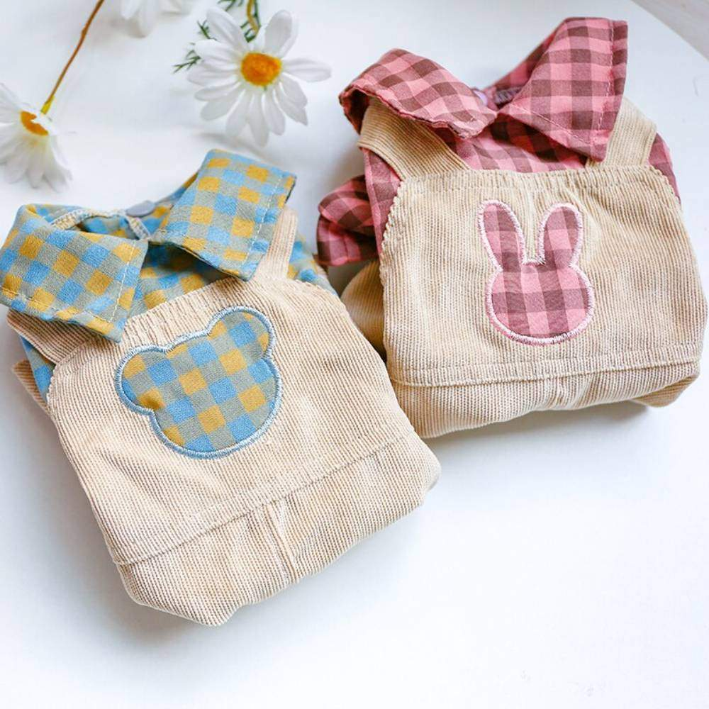 Dog Bear Plaid/Rabbit Plaid Overalls Clothes For Small Dog Puppy Pet Cat