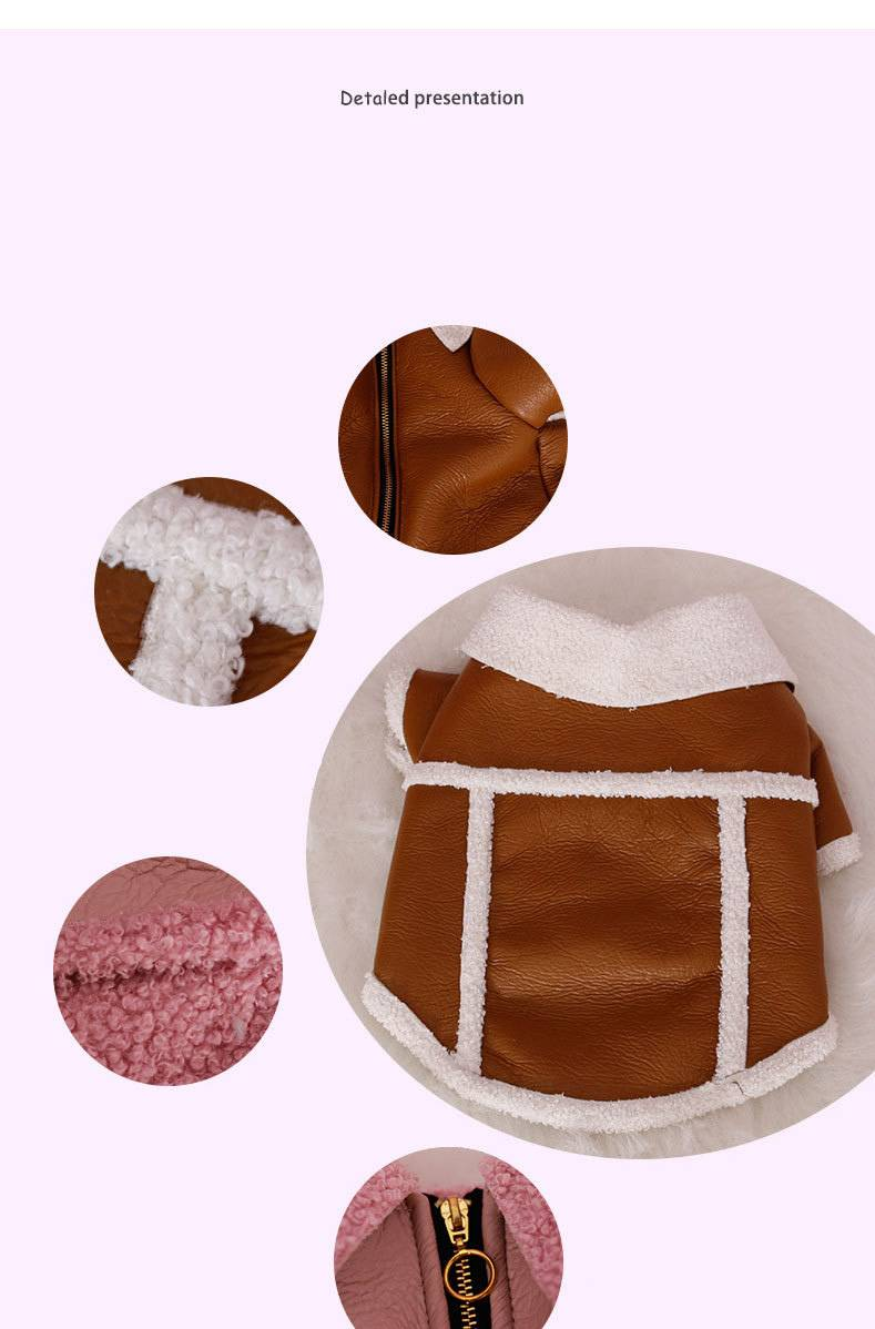 French Bulldog Clothes Pu Leather Clothes Autumn Winter Small Dog Outfits Puppy Clothing Velvet Zipper Warm Fat Dog Clothes