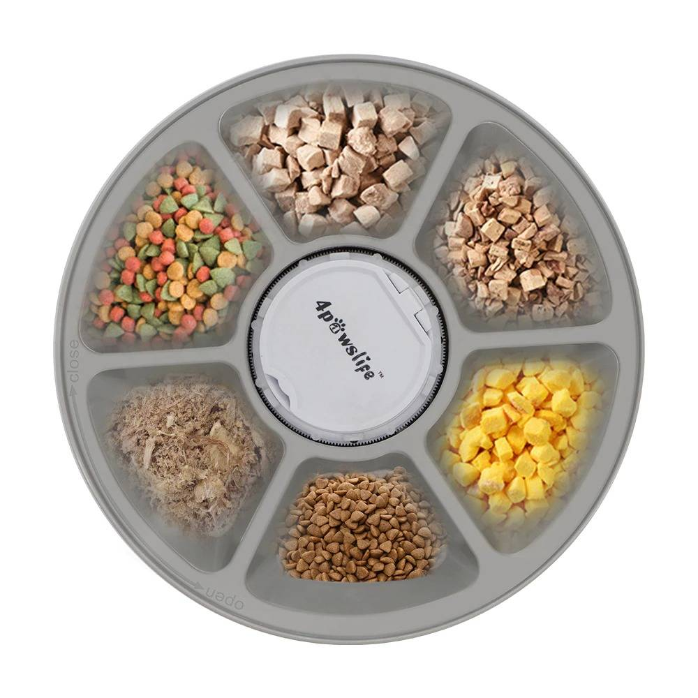 Pet Automatic Feeder Round Timing Feeder 6 Meals 6 Grids Dog Cat Electric Dry Food Dispenser