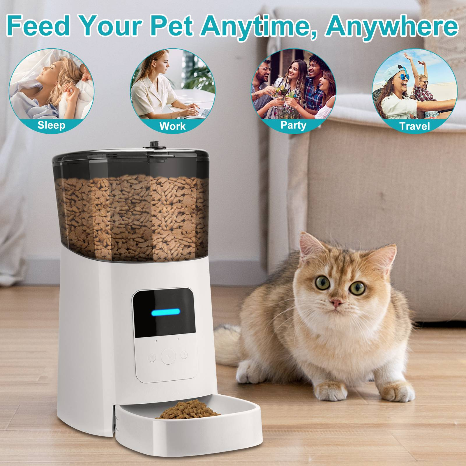 Pet Automatic Feeder 6L Wi-Fi Smart Feed Dog Cat Feeder Smartphone App for Mobile Voice Recorder and Timed Food Dispenser