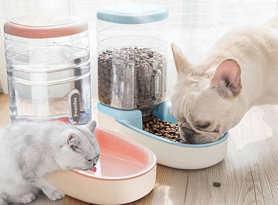 Pet Automatic Waterer Feeder Food Dispenser for Dog Cat 3.8L Large Capacity Portable Dog Cat Water Drinking Dispenser Feeder
