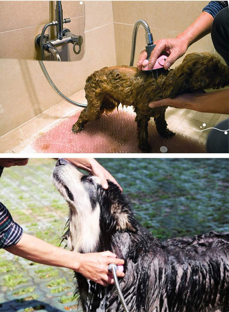 Pet Dog Cat Multifunctional Bath Shower Sprayer Pet Grooming Brush Cleaner Tool With Stainless Steel Hose