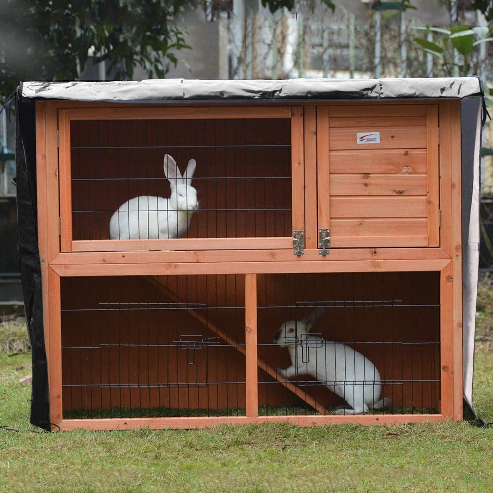 Rabbit Hutch Cover 4FT Waterproof Pet Bunny Cage Dustcover Outdoor Garden Patio Windproof Outdoor Cage Cover